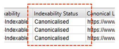 indexability status